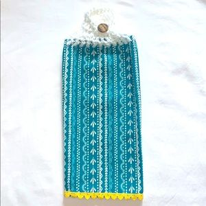 Crocheted Top Hanging Cotton Kitchen Towel